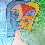 Sandra Vlachová, parafráze na P. Picassa, akryl na papíře, 2018