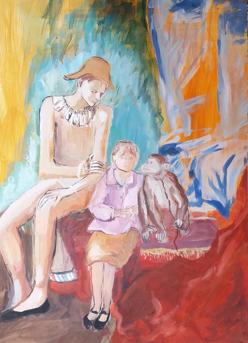 Glorie Grünwaldová, parafráze na P. Picassa, akryl na papíře, 2018