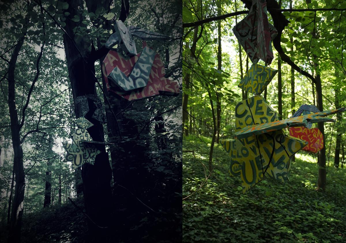 Sandra Vlachová, parafráze na P. Picassa - 3D papírové objekty nainstalovány na haldě v Ostravě Michálkovicích a ponechány svému osudu, kartonové objeky, 2018