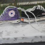 Adéla Sněhotová, Kompzice z bot, 100x70, akryl na papíře, 2016
