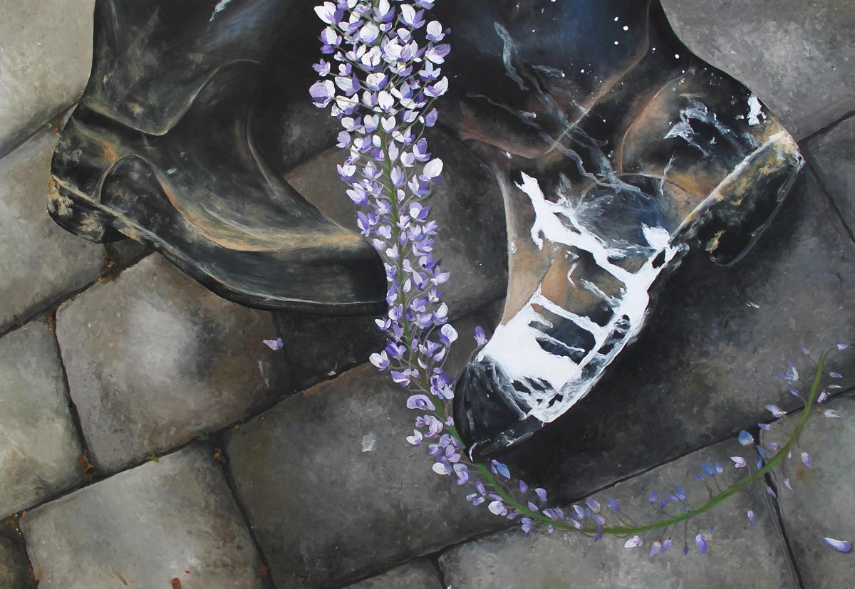 Magdalena Pernická, Kompzice z bot, 100x70, akryl na papíře, 2016