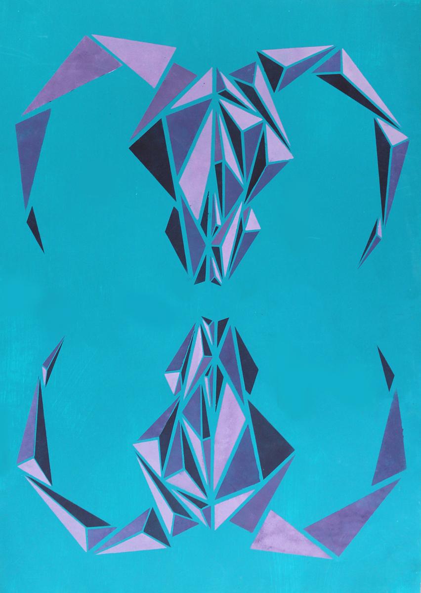 Radek Křikava, Muflon, 100x70, akryl na papíře, 2016